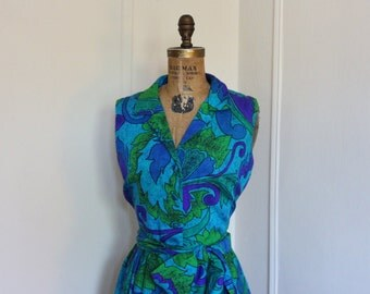 Blue Hawaii,  vintage 1960s Maxi Dress - Blue, Green, and Purple Tropical Print - size large