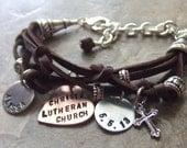 Mom Bracelet, Personalized Bracelet, Leather Charm Bracelet, Charm Bracelet, Testimony Bracelet, Ladies Leather Bracelet, Name Bracelet