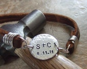 Personalized Bracelet, Leather Bracelet, Name Bracelet, ID Bracelet, Handstamped Bracelet, Milestone Bracelet, Gift for Fathers Men Dads Son