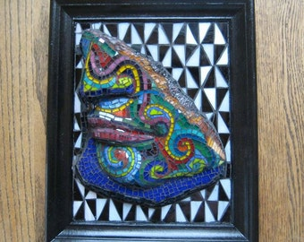 SALE more than 1/2 off was 225 now 95 dollars Mosiac Wall Art a piece of Leonardo's David looking New Zealand Maori Upcycled Recycled