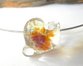 SALE-TINY Hand Made Borosilicate Heart Pendant Clear, Amber, Red by Misty Creek Studio Artist Terry Sieber