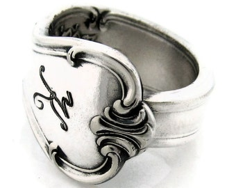 Signature Spoon Ring with K Monogram Size 3 4 5 6 7 8 9 10 11 12 13 14 15