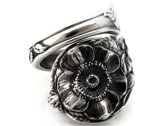 Sterling Spoon Ring Wild Rose Watson With S Monogram Size 8-12