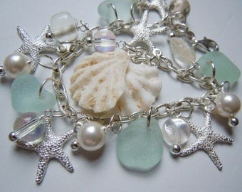 Starfish Sea Glass Bracelet Pastel Seaglass Jewelry Beach Glass Charm Bracelet