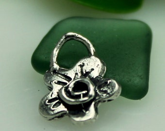 Flower Charm with Swirl Sterling Silver Artisan CH13