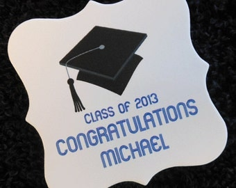 Personalized Graduation Favor Tags, graduation cap, black with blue printing, set of 100