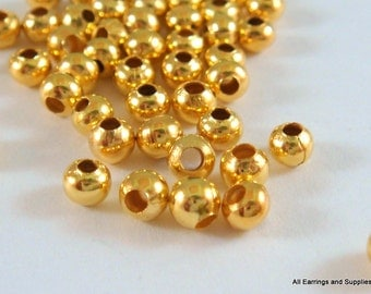 100 Round Metal Bead Gold Spacer 3mm Plated Iron Bead Hole 1mm - 100 pc - M7013-G100