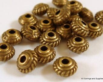 25 Antique Bronze Spacer Tibetan Silver Saucer Bead LF/NF/CF 5mm Round - 25 pc - M7043-AB25