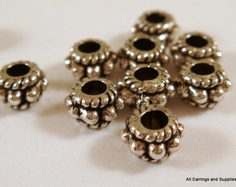 50 Antique Silver Bead Flat Round Tibetan Style LF/CF/NF 5x3mm - 50 pc - M7042-AS50