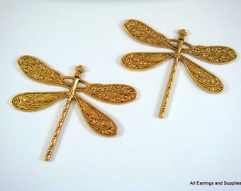 2 Dragonfly Antique Gold LF/CF Pendant Drops 49x38mm - 2 per package - MS11025P-AG2