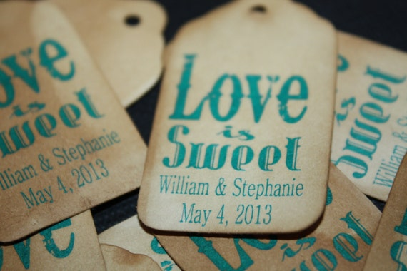 Love is Sweet  100 SMALL Personalized Favor Tags