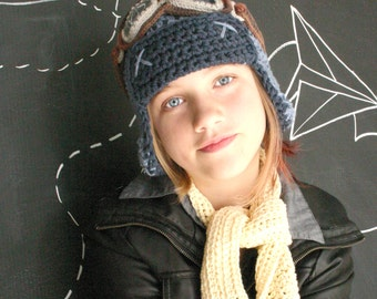 Aviator Hat Set with Goggles - Cotton Crochet