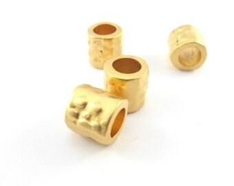 12pcs x Dotted casting bead Matt gold plating Inside 6mm hole diameter (1001592)