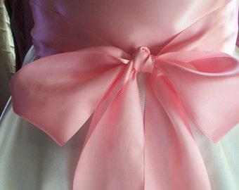 Wedding Sash, 3 inch Double Faced Satin, Pink, Handsewn Ends, Romantic Wedding Sash