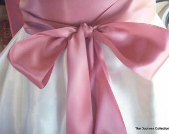 Wedding Sash, 3 inch Double Faced Satin, Dusty Rose Handsewn Ends, Romantic Wedding Sash