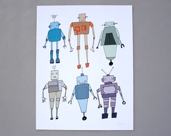 Robot Collection 8x10 Robot Art Print