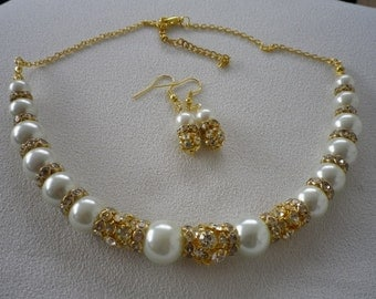 SALE Luxury Gold Rhinestone and  Ivory White Pearl Graduated Necklace and Earrings