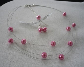 SALE Three Stranded Rose Pink Floating Pearls Necklace and Earrings Set