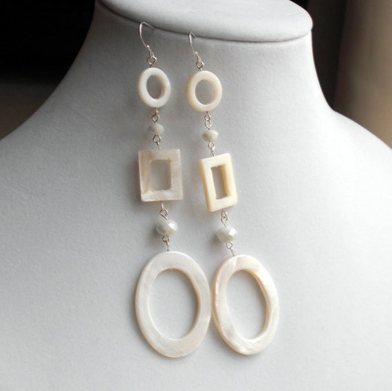 Modern Vintage Mother of Pearl Statement Earrings