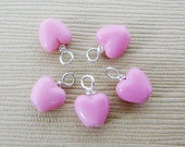Czech Glass Heart Dangles Sterling Silver Wire Pre Wrapped Dangle Accent Pink