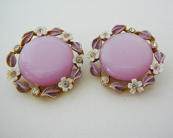 Vintage .. Earrings, Pink Leaved Flowers Clear Rhinestone GoldTone Clipon