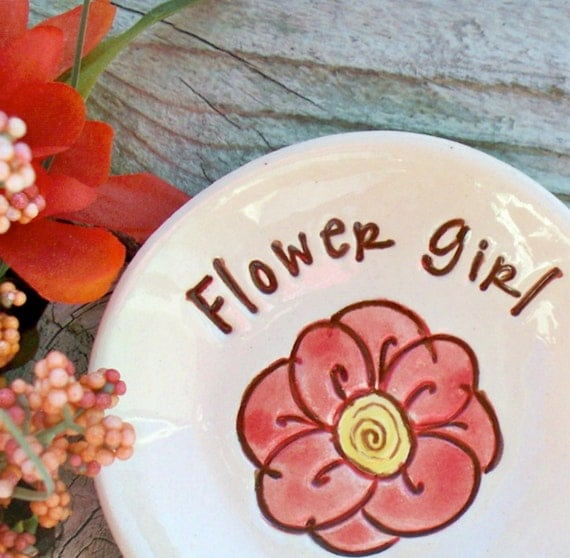 Ceramic Ring & Jewelry Dish - Personalized with Name and Flower Girl Title