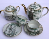 SALE Upcycled Illustrated Bamboo Tea Set for Two