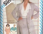 1980s vintage sewing pattern 1/2 UNCUT Simplicity 6267 size 12 bust 34 waist 26 1/2 hips 36 Cathy Hardwick Misses Unlined Coat in