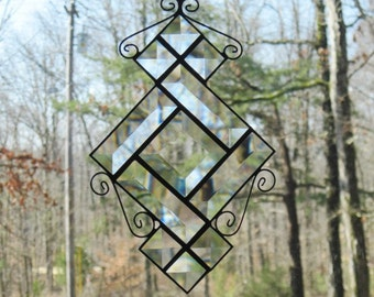 Stained Glass Suncatcher, Clear Bevels, Wire Curls