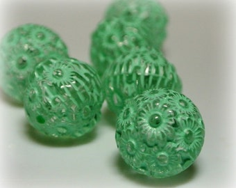 Flower  beads mint green and clear