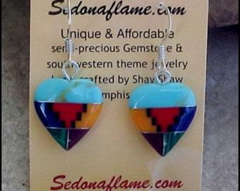 Southwestern Multi Inlaid HEART Earrings style-C  0920