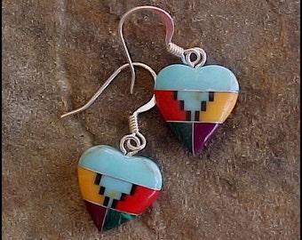 Southwestern Multi Inlaid HEART Earrings style-B  0920