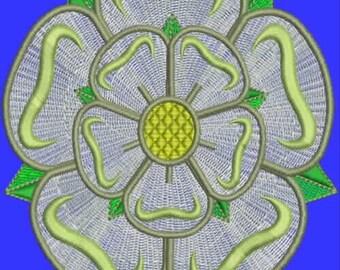 Yorkshire Rose Digitized Embroidery Design (single)