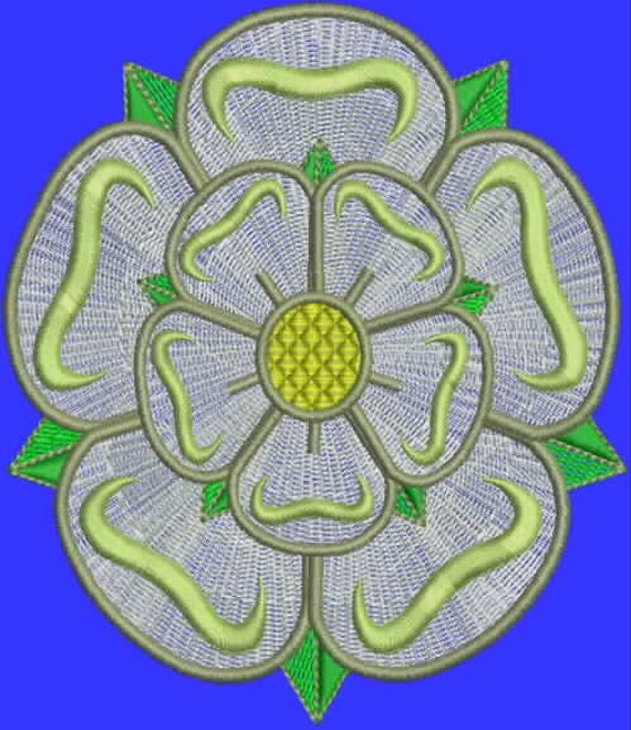 Yorkshire rose digitized embroidery design single
