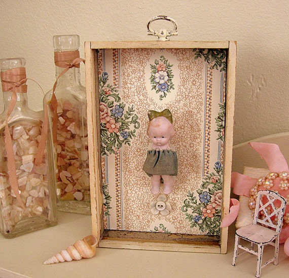 Antique Miniature German Doll Inside Frame Shadow Box