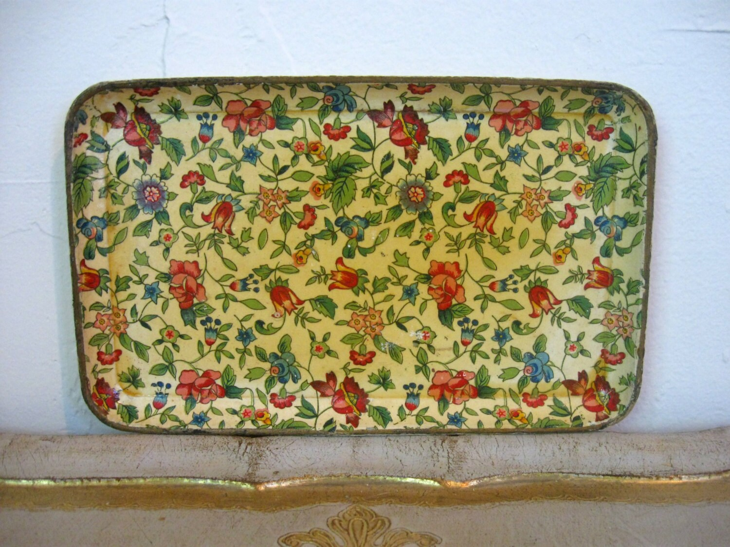 Chintz Paper Mache Tray Yellow Gold And Red Floral