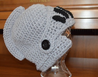 Knight Helmet Crochet Hat - All Sizes Available - Newborn to Adult