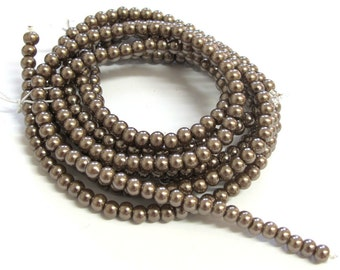 Chocolate Brown Pearlish 4mm Round Beads, Sold per 24 inches Strand, about 180 pc, 1059-57