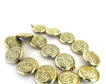 Antiqued Gold Acrylic 25mm Round Coin  Beads, Set of 15, 1073-18