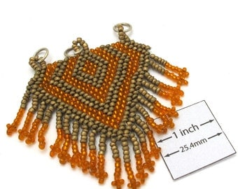 Orange and Antiqued Gold Seed Beads, Handweaved 60mm x 70mm Pendant, OOAK, 1051-34