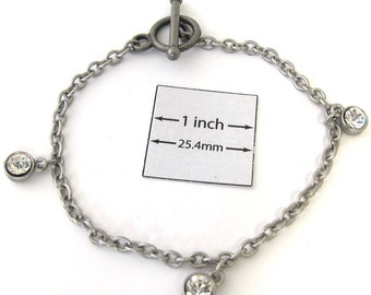 Antiqued SIlver Metal Chain Bracelet is ready for Embellishment with Charms or Dangles, A053a