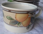 Set of 3 Mikasa Garden Harvest FLAT CUPS 8 oz- Coffee Tea- Fruit Orchard Pattern Design Ivory Blue Brown Pears Peach Leaves Berries Intaglio
