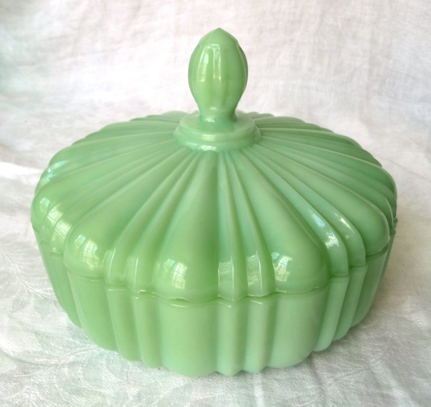 1940s Fire King Jadeite Candy Dish Ribbed Cover Lid