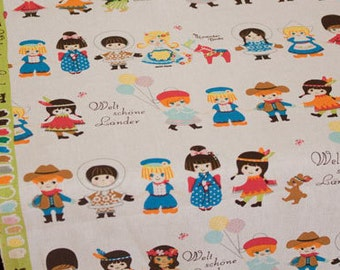 3038 - Japanese Kokka Kids Cotton Linen Blend Fabric - 57 Inch (Width) x 1/2 Yard (Length)