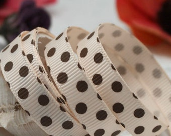 9mm x 5yards (brown polka dot on beige) grosgrain ribbon (S681)