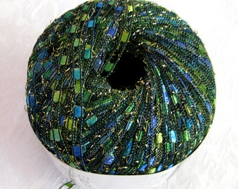 Glittery Ladder Ribbon yarn, CARIBBEAN, blue green yellow teal  ocean shades, trellis railroad metallic sparkle yarn, 84