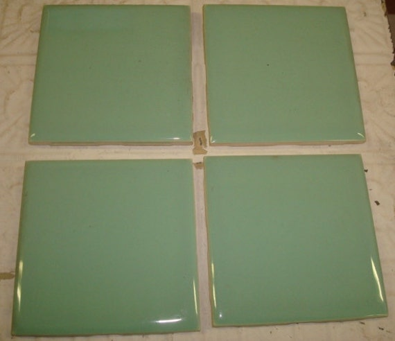 4 Pc Lot Vintage Bathroom Ceramic Tiles Jadeite Mint Green