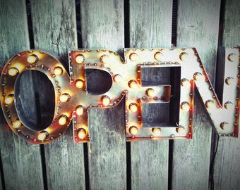 "12""x30"" Steel Marquee OPEN SIGN, Non-Rusty, NO Back"