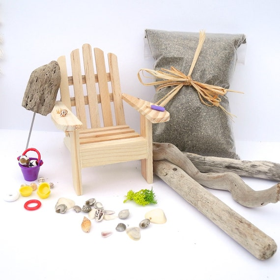 miniature garden beach set with adirondack chair beach toys. Black Bedroom Furniture Sets. Home Design Ideas