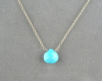 tiny sleeping beauty turquoise necklace on 14k gold filled chain